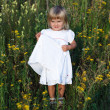 Litle girl sitting in a meadow — Stock Photo