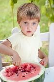 Young blond boy has healthy eating habits — Stock Photo