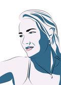 Blonde girl ilustration — Stock Photo