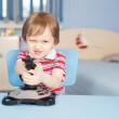 Little boy play computer games with joystick — Stock Photo #17162057