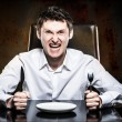 Mad man waiting his food — Stock Photo