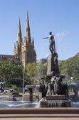 The Archibald Fountain and St Mary's Cathedral, Sydney — Stock Photo