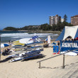 MANLY BEACH, SYDNEY,AUSTRALIMARCH 13TH: Surfboards for hire on — Stock Photo #29340951