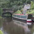 Barge on Huddersfield canal — Stock Photo
