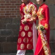 Stock Photo: HO CHI MINH CITY,VIETNAM-NOV 5TH: A newly married couple in trad