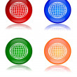Colorful globes as buttons — Stock Photo