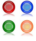 Colorful globes as buttons — 图库照片