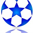 Soccer ball with blue stars — Stock Photo