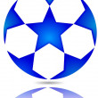 Stock Photo: Soccer ball with blue stars