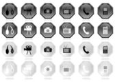 Many different black and white icons — Stock Photo