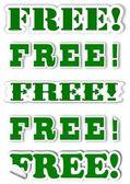 Verschiedene grüne schriftzug als kostenlose aufkleber — Stockfoto