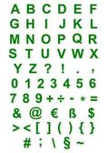 Green alphabet, numbers and characters — Stockfoto
