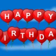 Happy birthday wish inflatable heart on blue background — Foto Stock
