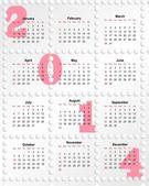 Calendario para el año 2014 con agujeros — Foto de Stock