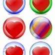 Colored glass balls inside a heart — Stok fotoğraf