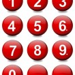 Stock Photo: Red balls with white numbers