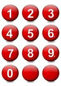 Red balls with white numbers — Stock Photo