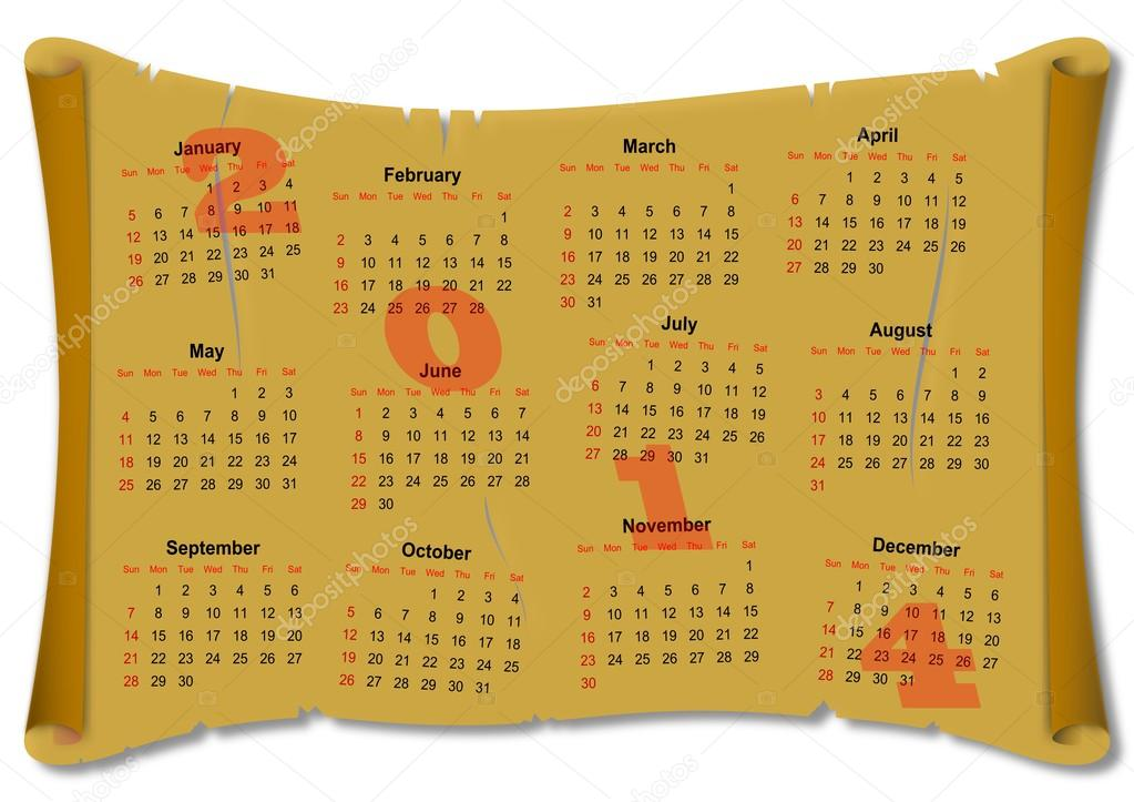 Calendar for 2014 on the parchment paper as an illustration  Stock Photo #18340245