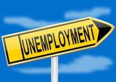 Directional arrow with the inscription unemployment — Stock Photo