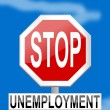 Traffic sign stop unemployment on blue background - Stock Photo