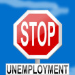 Traffic sign stop unemployment on blue background — 图库照片