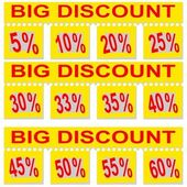 Great special discount percentage on perforated paper — Stock Photo