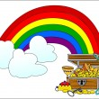 Big treasure chest and rainbow  — Zdjęcie stockowe