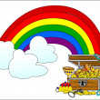 Stock Photo: Big treasure chest and rainbow