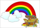 Big treasure chest and rainbow — Stock Photo