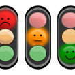 Three traffic lights with smiley faces — Stock Photo #37807413