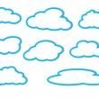 Different clouds with a blue outline on a white background — Stock Photo