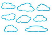 Different clouds with a blue outline on a white background — Foto Stock