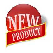 Ball and plate with the words new product — Foto de Stock