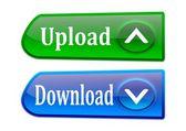 2 つのカラフルなボタン ダウンロードおよびアップロード — ストック写真