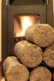 Wood briquettes — Stock Photo