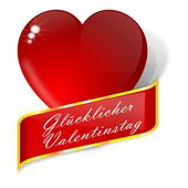 Red heart with wishes for Valentine's Day - German — Stock Photo