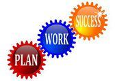 Gears of inscriptions plan, work, success — Stock Photo