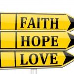 Three arrows with the words faith, hope, love — Stock Photo