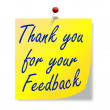 "The paper with the words ""thank you for your feedback"" — Foto de Stock"