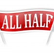 """Red banner with the words """"all half"""" — Stock Photo"""