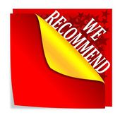 """Red paper with folded corner and says """"we recommend"""" — Foto Stock"""