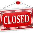 "Stock Photo: Red sign on chain with word ""closed"""