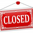 "Stock Photo: Red sign on the chain with the word ""closed"""