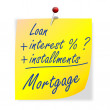 Stock Photo: Paper with inscription loan, interest, installments, mortgage