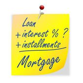 The paper with the inscription loan, interest, installments, mortgage — Stock Photo