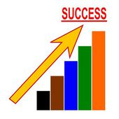 Color chart with an arrow and the word success — Stock Photo