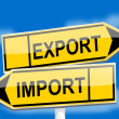 Постер, плакат: Yellow road sign with the word export import