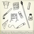 Stock Vector: Back to school hand draw