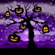 Stock Vector: Halloween tree with pumpkins