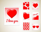 Valentine Stamps — Vector de stock